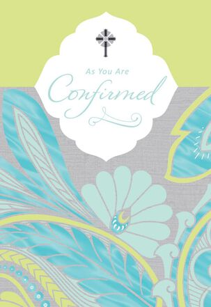 Floral Cross Confirmation Card