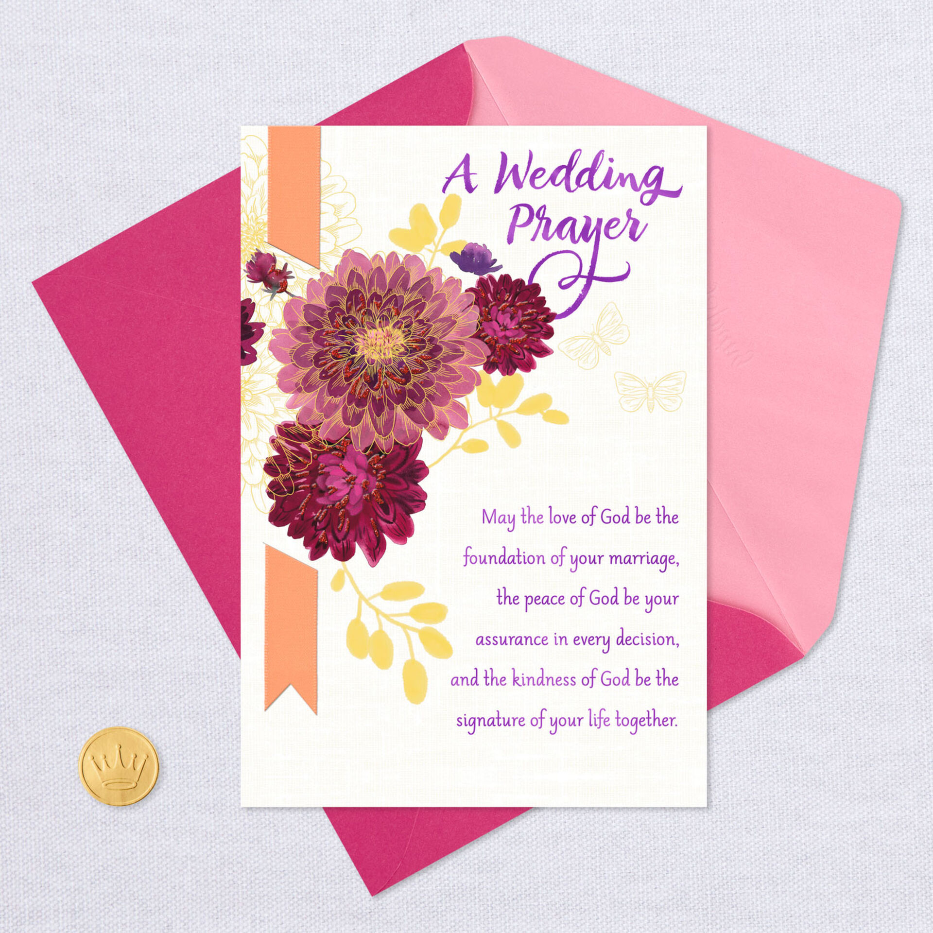 dahlia flowers religious wedding card  greeting cards