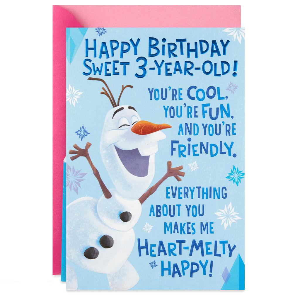Disney Frozen Olaf Heart Melty Happy 3rd Pop Up Birthday Card