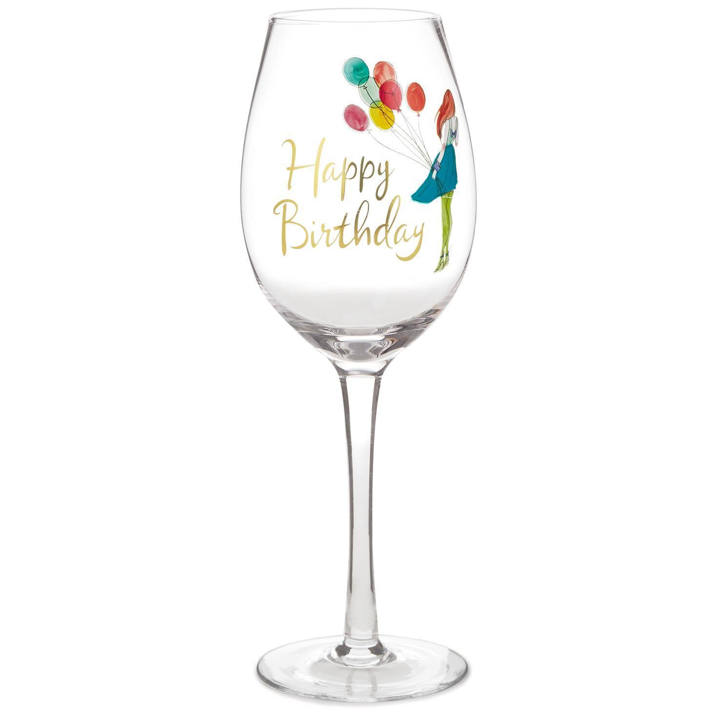 happy birthday wine glass 158 oz wine glasses hallmark - Happy Birthday Wine Glass