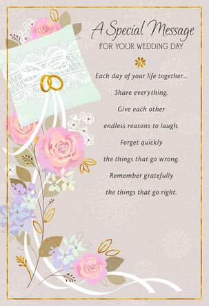 Rings, Ribbon and Flowers Wedding Card