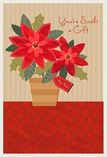 Holiday Poinsettia Christmas Card,