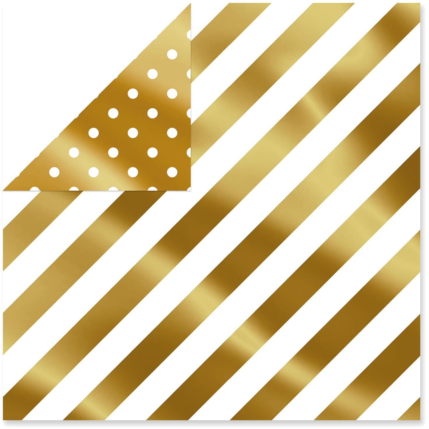 Gold Foil Dots/Bold Stripes Foil Reversible Christmas Wrapping Paper Roll,  25 sq  ft