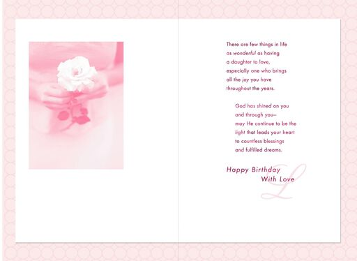 Rose in Hands Daughter Birthday Card,