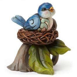 Jim Shore Mini Bluebird in Nest Figurine, , large