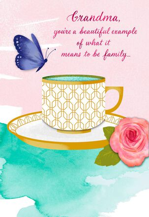 Grandma Butterfly and Tea Cup Mother's Day Card