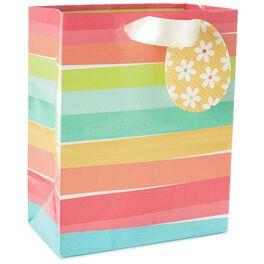 "Multicolored Stripes Medium Bag With Tissue, 10"", , large"