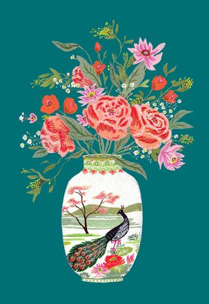 Peacock Vase with Flowers Mother's Day Card