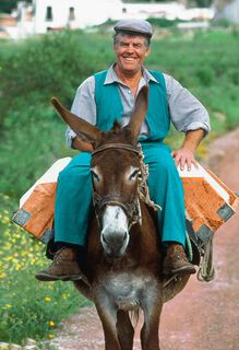 Man Riding a Donkey Father's Day Card,