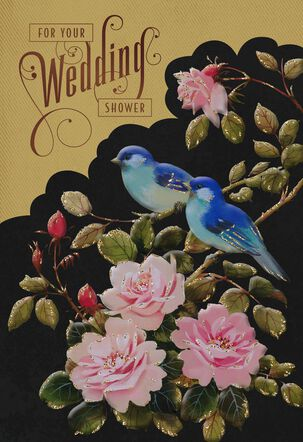 Roses and Bluebirds Bridal Shower Wedding Card