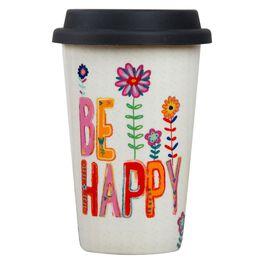 Natural Life Be Happy Thermal Mug, 12 oz., , large