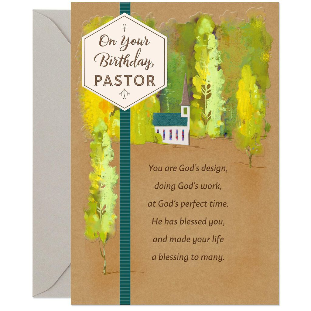 Chapel In The Woods Religious Birthday Card For Pastor