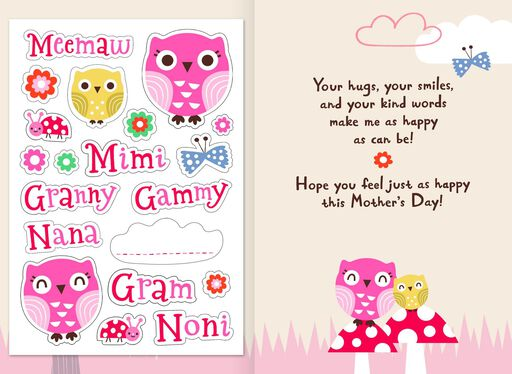 Two Owls Customizable Mother's Day Card for Grandma,