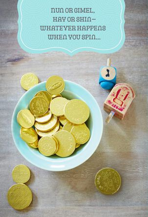 Gold Coins and Dreidels Hanukkah Card