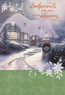 Thomas Kinkade You're a Blessing, Godparents Religious Christmas Card,