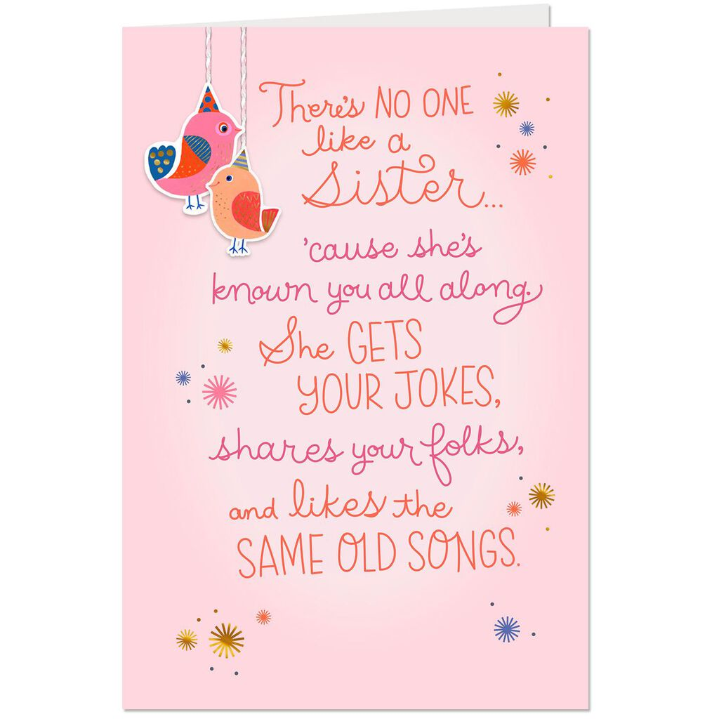 No One Like A Sister Poem Birthday Card