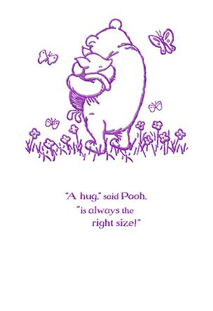 Winnie the Pooh and Piglet Hugs Easter Card