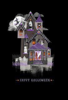 Spirited Haunted House Halloween Card,