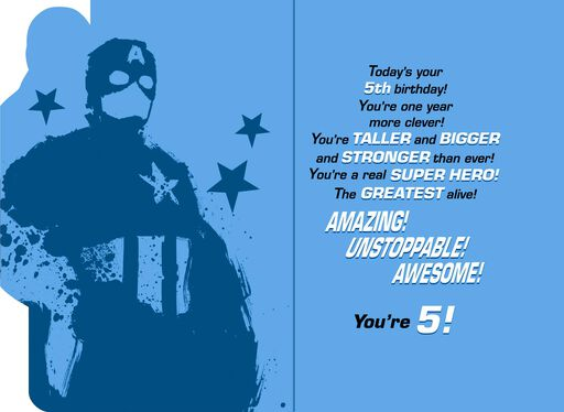 Captain America Musical 5th Birthday Card