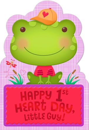 Frog in Ball Cap First Valentine's Day Card for Baby Boy