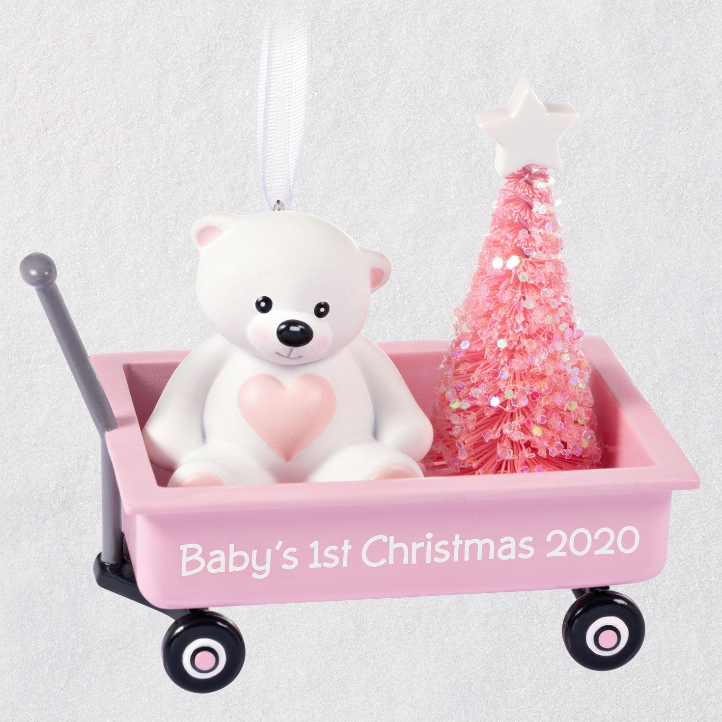 Hallmark Babys First Christmas 2020 Baby Girl's First Christmas Pink Wagon 2020 Ornament   Keepsake