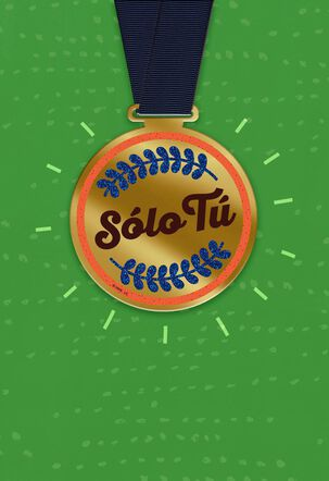 Excellent Dad Spanish-Language Father's Day Card With Removable Medal