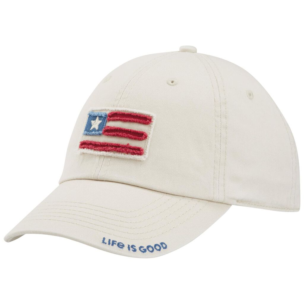 f295a3d2502 Life is Good Men s Flag Patch White Baseball Cap - Scarves