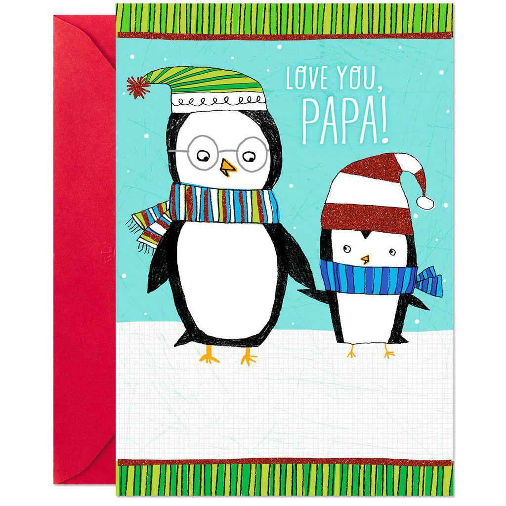 Cute Christmas Cards.Love You Cute Penguins Christmas Card For Papa