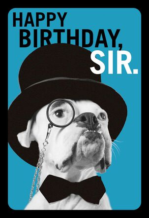 Dapper Bulldog Funny Birthday Card for Him