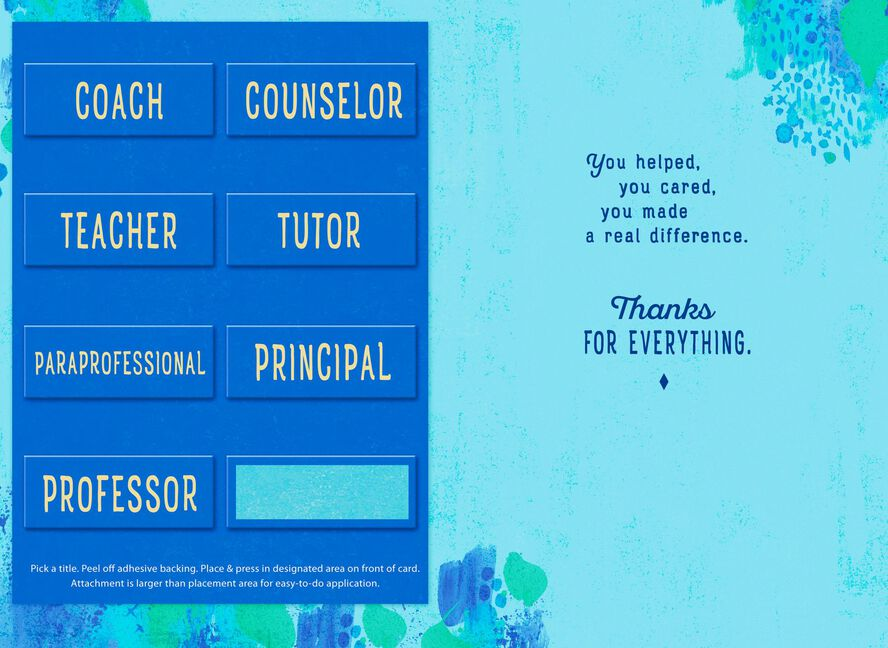 customizable school faculty thank you card with recipient stickers