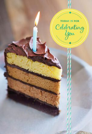 Slice of Chocolate Cake With Foil Birthday Card