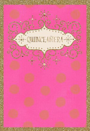 Glitter and Glow Spanish-Language Quinceañera Card