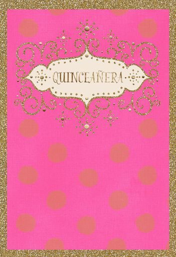Glitter And Glow Spanish Language Quinceanera Card