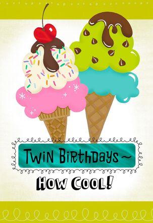 Ice Cream Birthday Card for Twin Boy and Girl