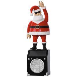 Nothin' But a Good Time Rockin' Santa Solar Motion Musical Ornament, , large