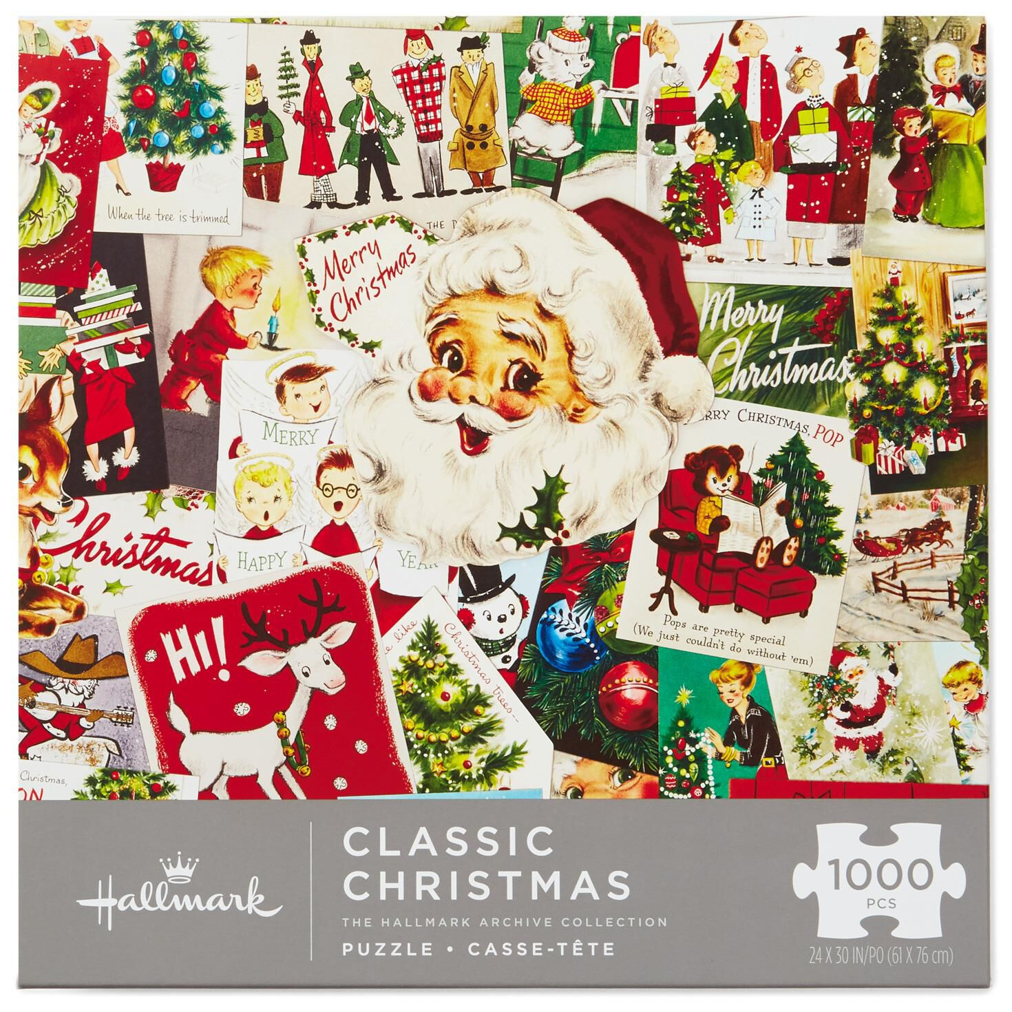 classic christmas vintage greeting cards 1000 piece puzzle puzzles games hallmark - Classic Christmas