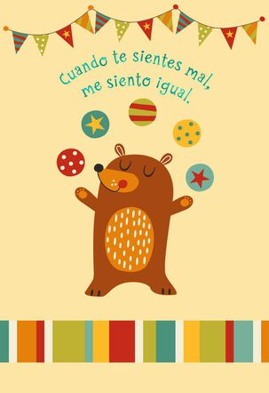 Juggling Bear Spanish-Language Get Well Card