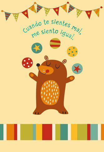 Juggling Bear Spanish-Language Get Well Card - Greeting Cards - Hallmark