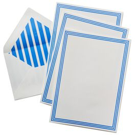 White With Blue Line Border Stationery, Box of 20, , large
