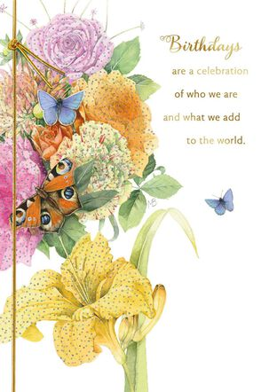 Marjolein Bastin Bouquet With Butterflies Birthday Card