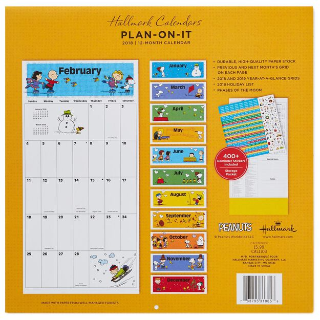 Peanuts® 2018 Large Grid Wall Calendar With Stickers, 12-Month