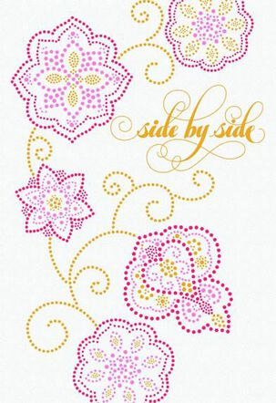 Side by Side Dotted Flowers Valentine's Day Card
