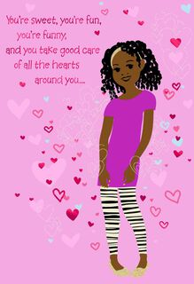Girl With Hearts Valentine's Day Card for Young Girl,