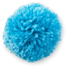 "Blue Yarn Pom Pom Gift Bow, 3"", , large"