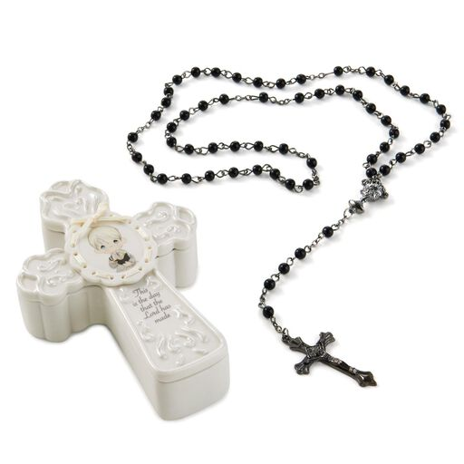 Precious Moments First Communion Boy Cross Box With Black Rosary