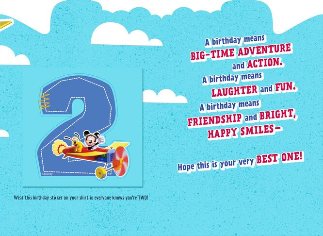 Mickey Mouse 2nd Birthday Card With Sticker Greeting Cards – 2nd Birthday Cards