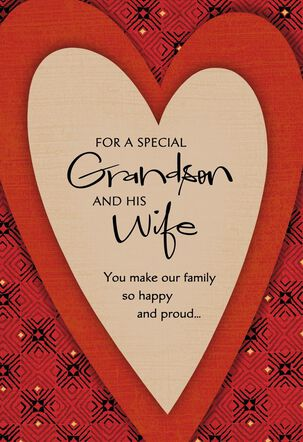 For a Special Grandson and Wife  Red Heart Valentine's Day Card