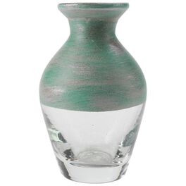 """Small Green Painted Glass Vase, 4"""", , large"""