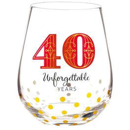 40 Unforgettable Years Stemless Wine Glass, , large