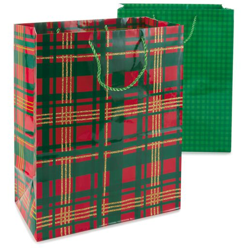 Plaid And Gingham 2 Pack Large Gift Bags 13